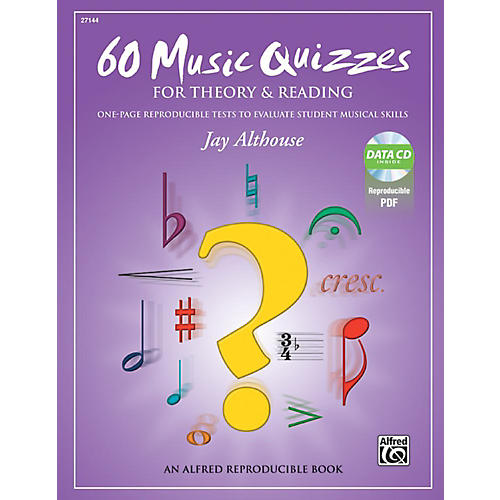 Alfred 60 Music Quizzes for Theory and Reading Book & Data CD thumbnail