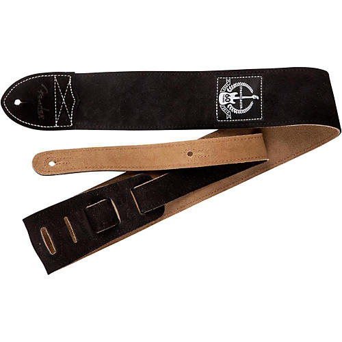 Fender 60th Anniversary Black Leather Guitar Strap thumbnail