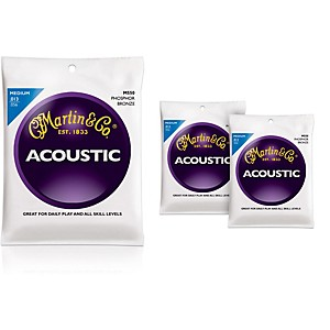 Martin M550 Phosphor Bronze Medium 3-Pack Acoustic Guitar Strings