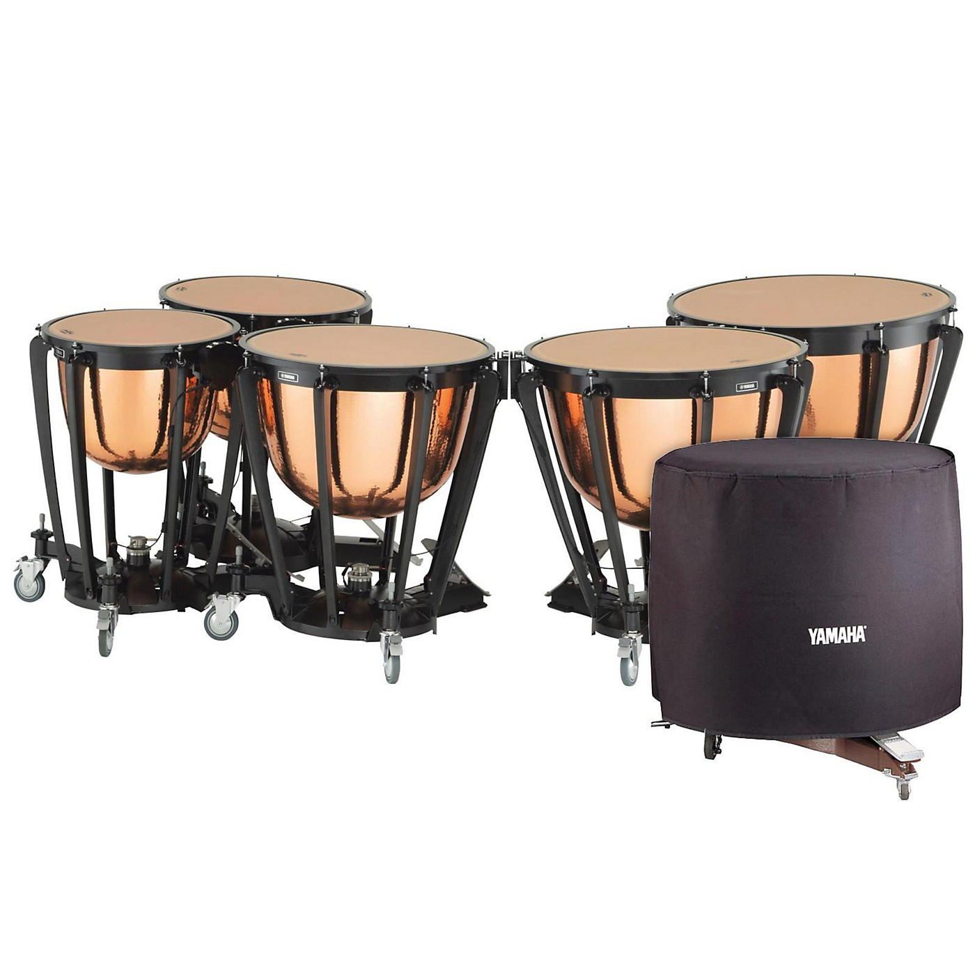 Yamaha 7300 Series Professional Hammered Copper Timpani Set with Long Cover thumbnail