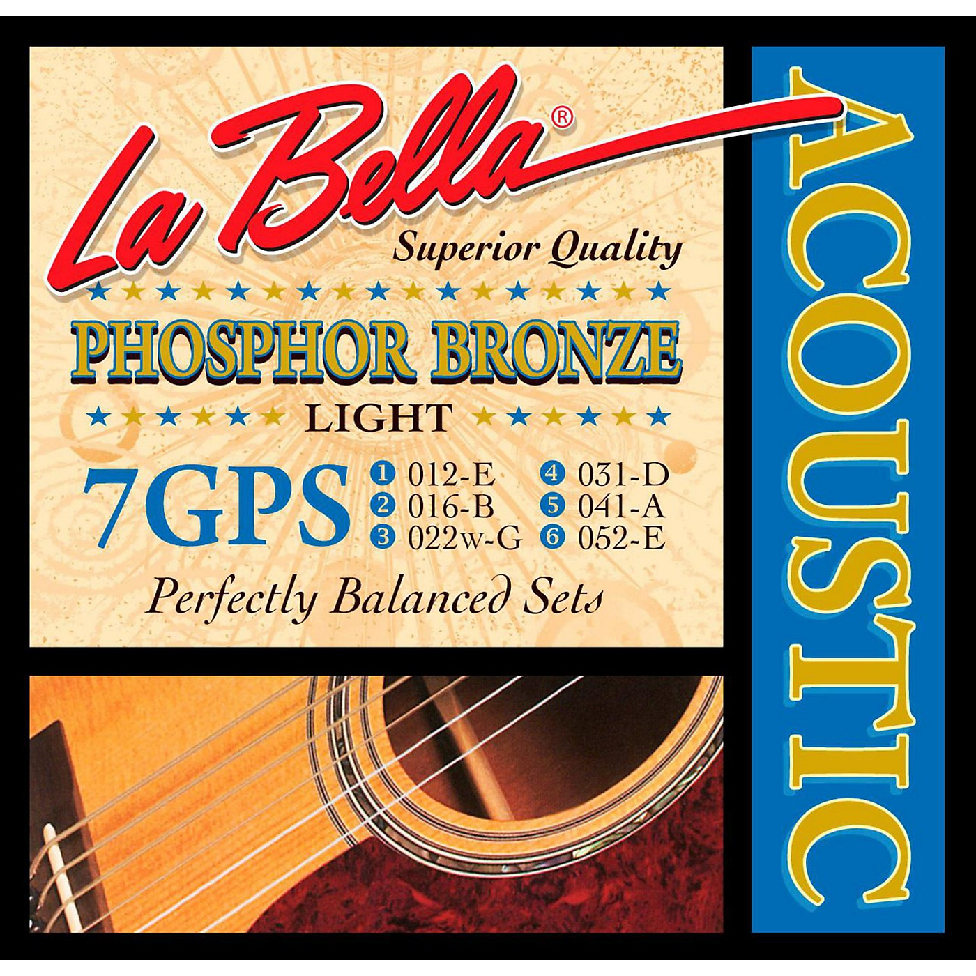 LaBella 7GPS Phosphor Bronze Light Acoustic Guitar Strings thumbnail