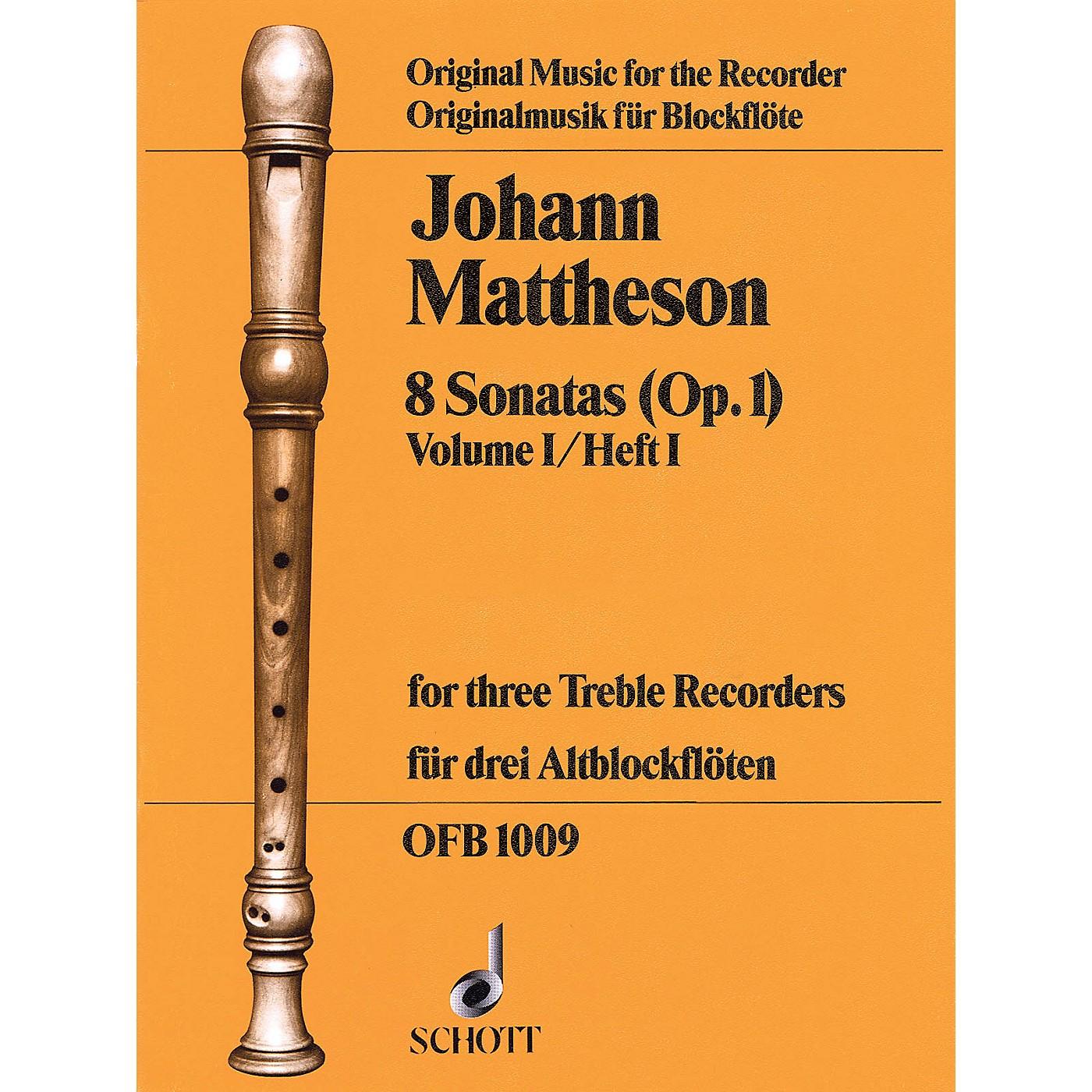 Schott 8 Sonatas, Op. 1, Volume 1 (for 3 Treble Recorders) Schott Series by Johann Mattheson thumbnail