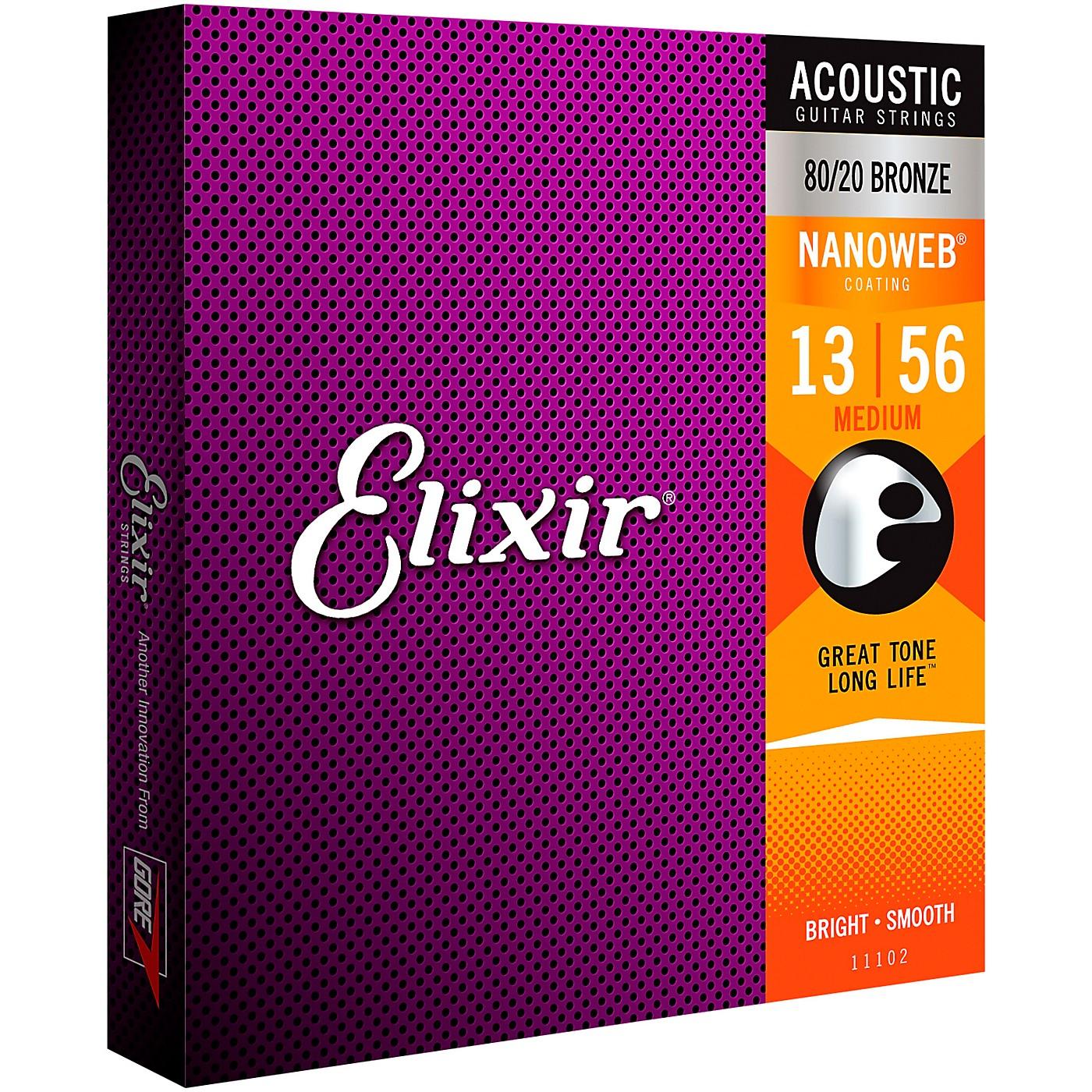 Elixir 80/20 Bronze Acoustic Guitar Strings with NANOWEB Coating, Medium (.013-.056) thumbnail