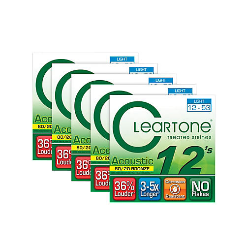 Cleartone 80/20 Bronze Coated Acoustic Guitar Strings Light (5-Pack)-thumbnail