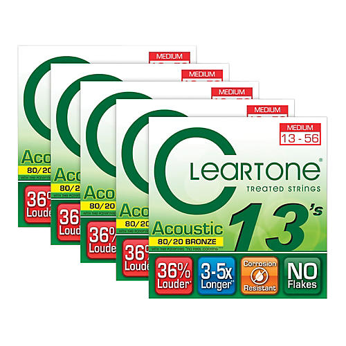 Cleartone 80/20 Bronze Coated Acoustic Guitar Strings Medium (5-Pack) thumbnail
