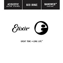 Elixir 80/20 Bronze Single Acoustic Guitar String with NANOWEB Coating .045