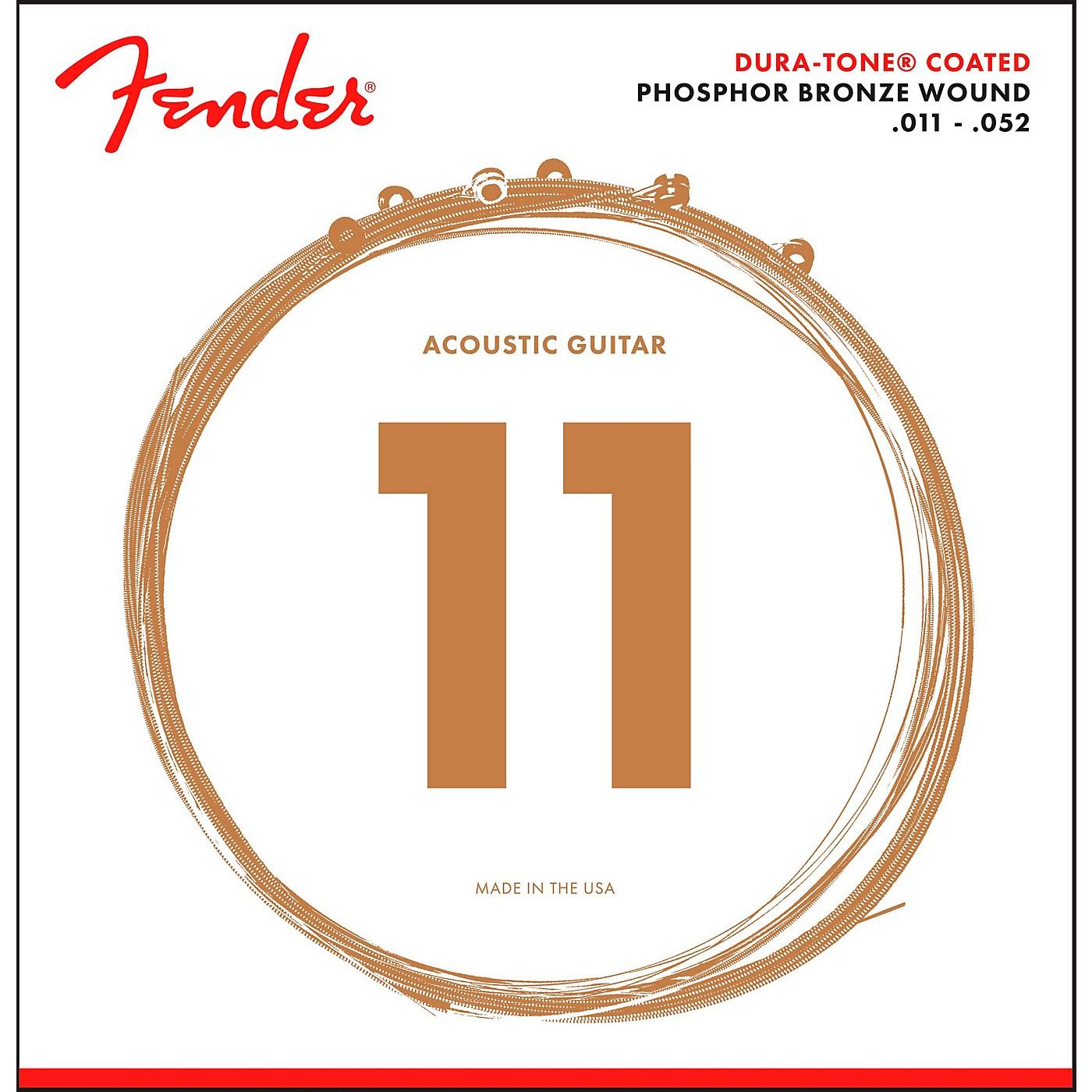 Fender 860CL Phosphor Bronze Dura-Tone Coated Acoustic Guitar Strings 11-52 thumbnail