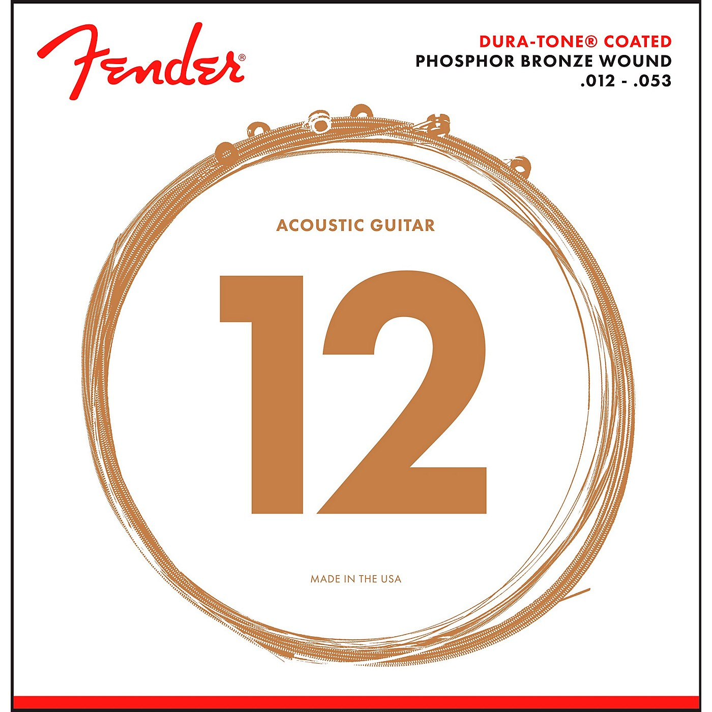 Fender 860L Phosphor Bronze Dura-Tone Coated Acoustic Guitar Strings 12-53 thumbnail