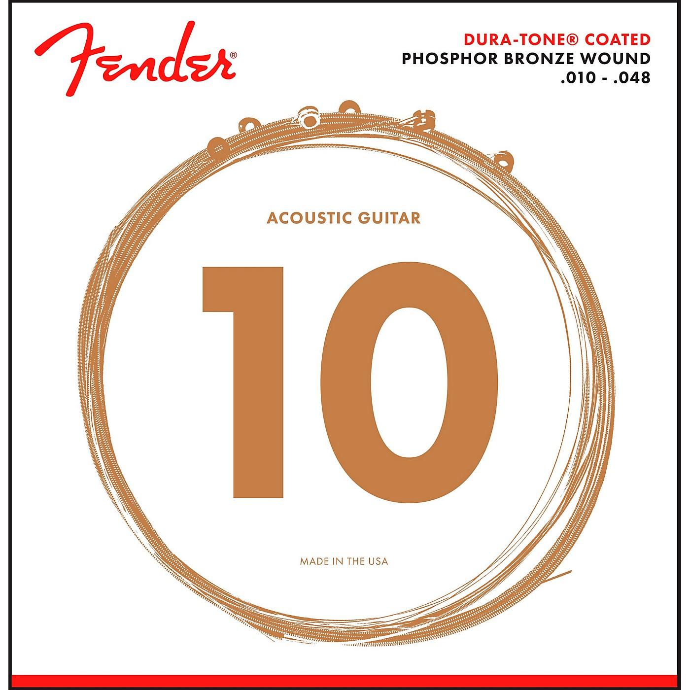 Fender 860XL Phosphor Bronze Dura-Tone Coated Extra Light Acoustic Guitar Strings 10-48 thumbnail