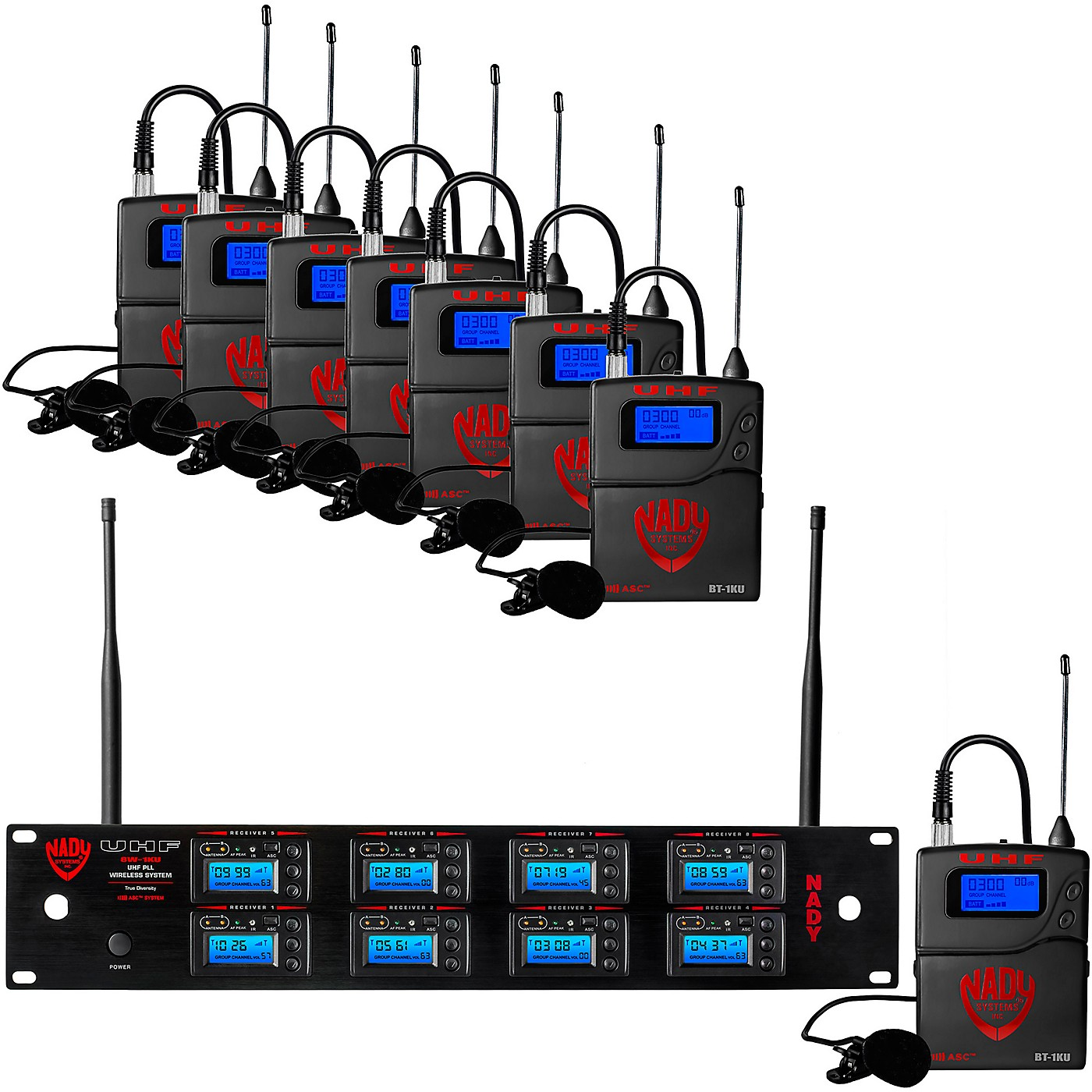 Nady 8W-1KU - Eight 1000-Channel Lavalier Wireless System thumbnail