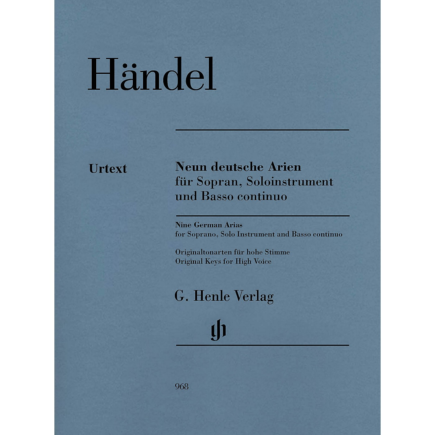 G. Henle Verlag 9 German Arias for Soprano, Solo Instrument and Basso Continuo Henle Music by Händel thumbnail