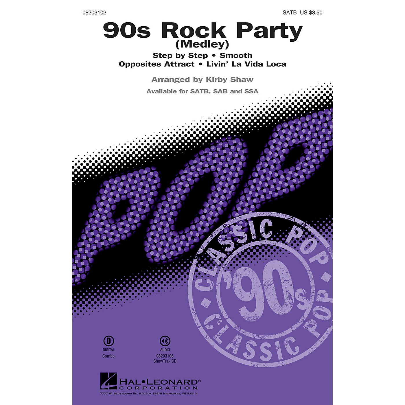 Hal Leonard 90s Rock Party (Medley) SATB arranged by Kirby Shaw thumbnail
