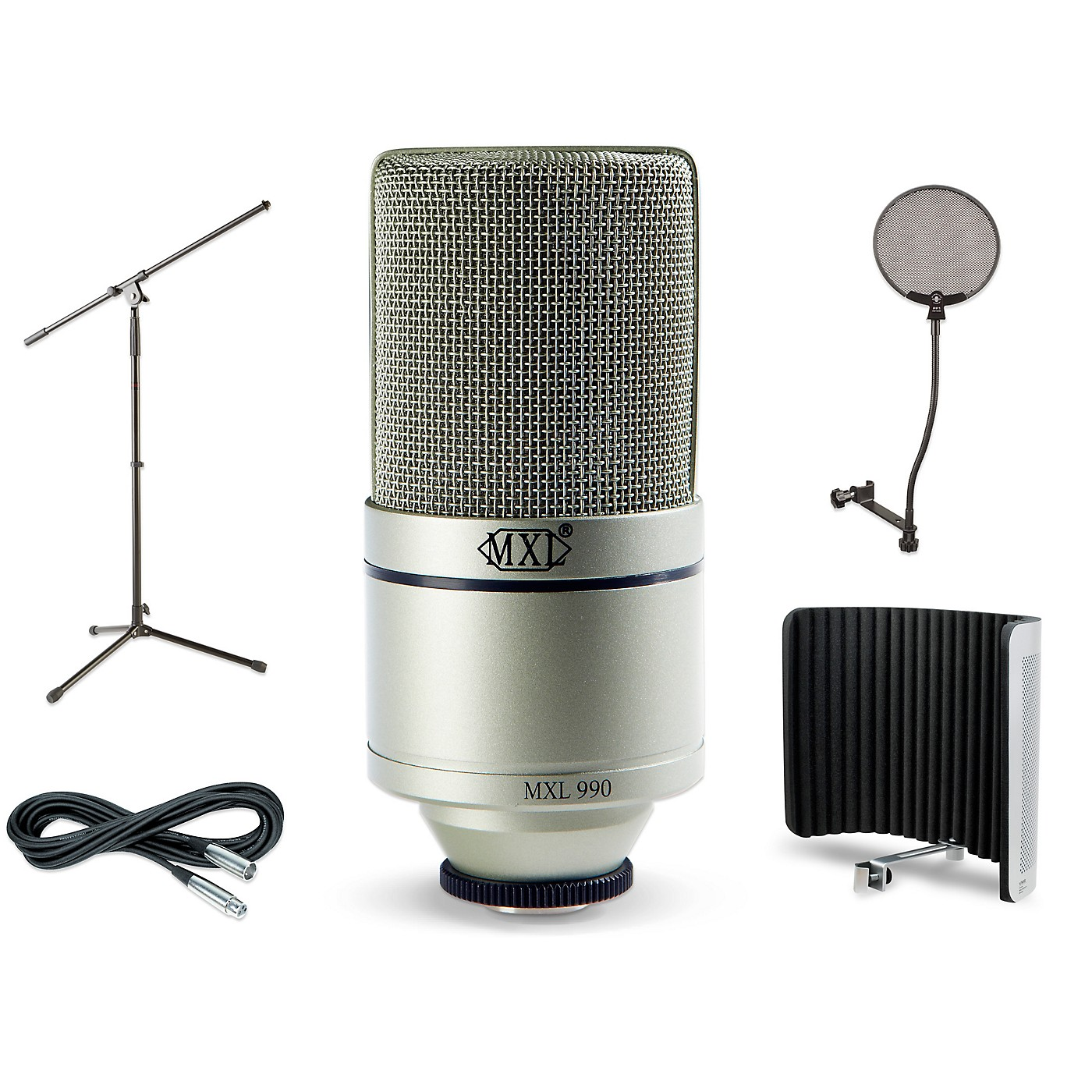 MXL 990 Large-Diaphragm Condenser Microphone Bundle With VMS Vocal Shield, Boom Stand, Pop Filter and Cable thumbnail