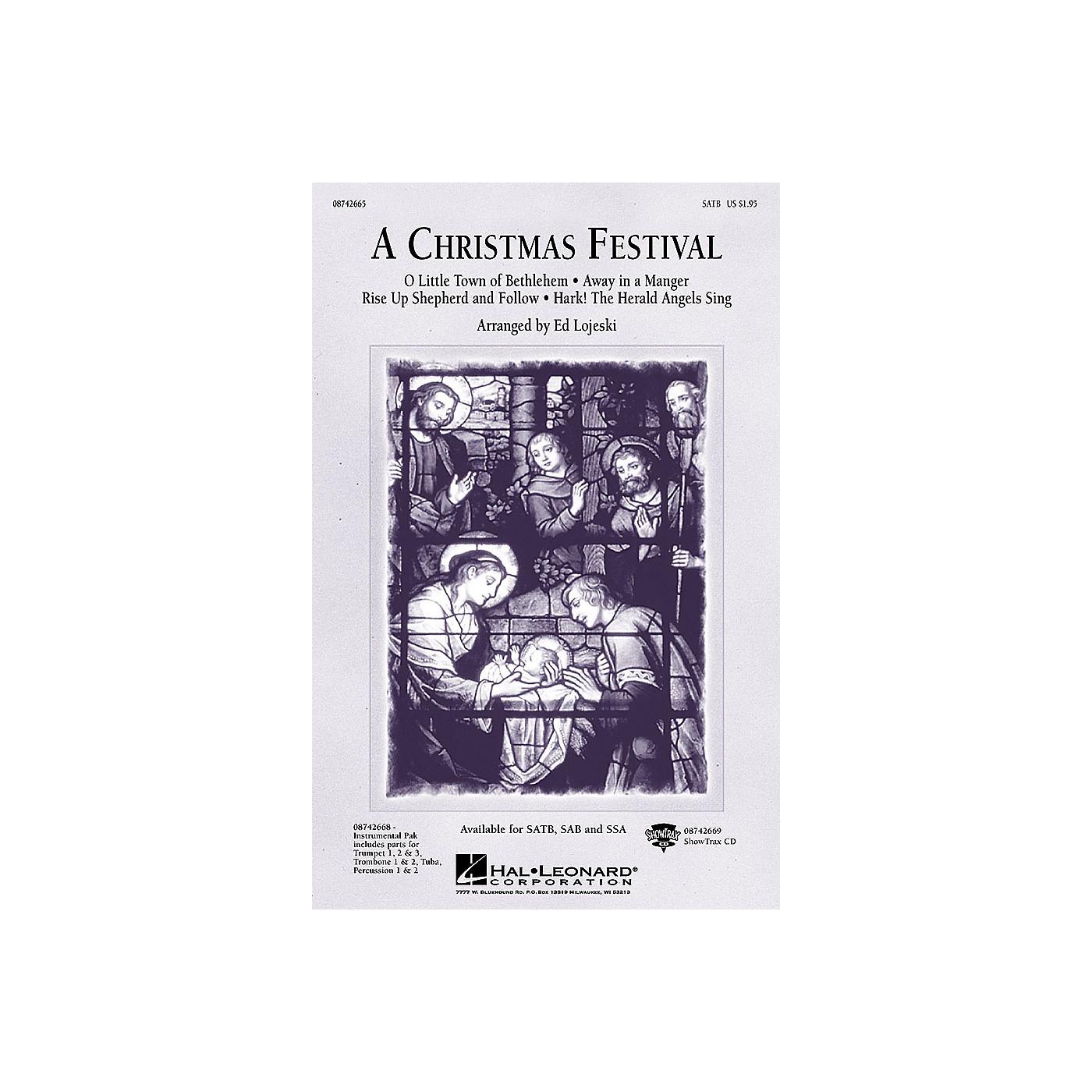 Hal Leonard A Christmas Festival (Medley) SAB Arranged by Ed Lojeski thumbnail