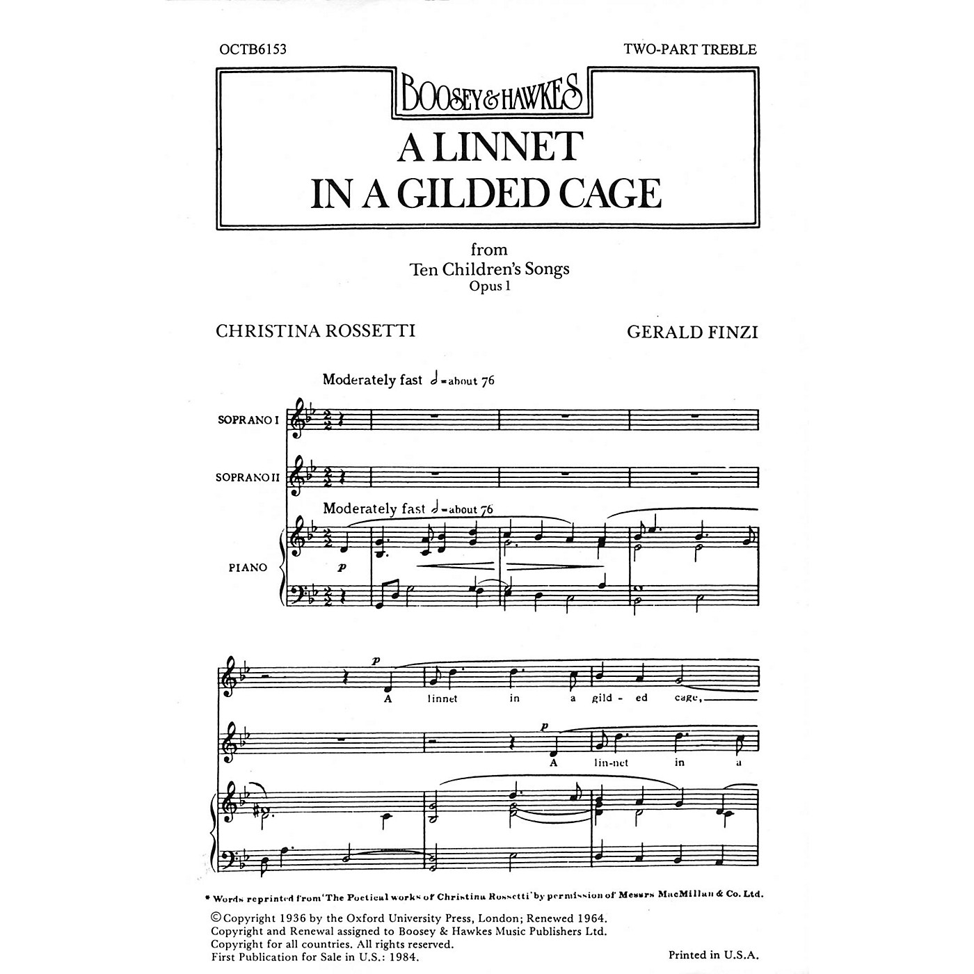 Boosey and Hawkes A Linnet in a Gilded Cage (from Ten Children's Songs, Op. 1) 2-Part composed by Gerald Finzi thumbnail