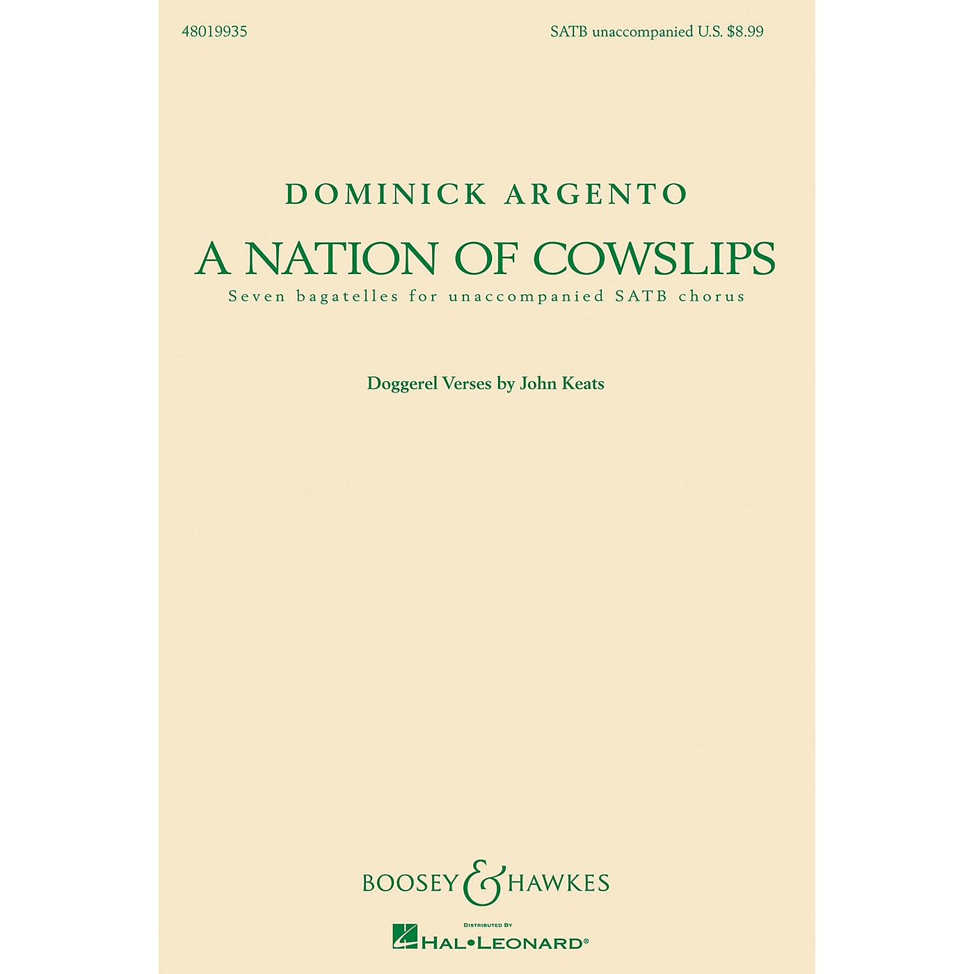 Boosey and Hawkes A Nation of Cowslips (Seven Bagatelles for Unaccompanied SATB Chorus) SATB composed by Dominick Argento thumbnail