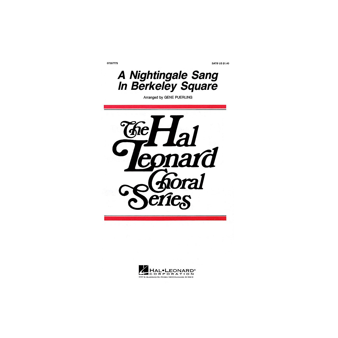 Hal Leonard A Nightingale Sang in Berkeley Square SATB a cappella arranged by Gene Puerling thumbnail