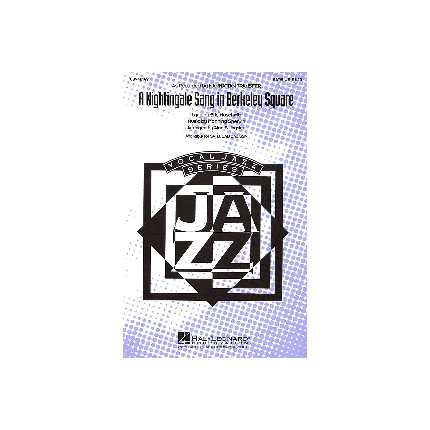Hal Leonard A Nightingale Sang in Berkeley Square SSA by The Manhattan Transfer Arranged by Alan Billingsley thumbnail