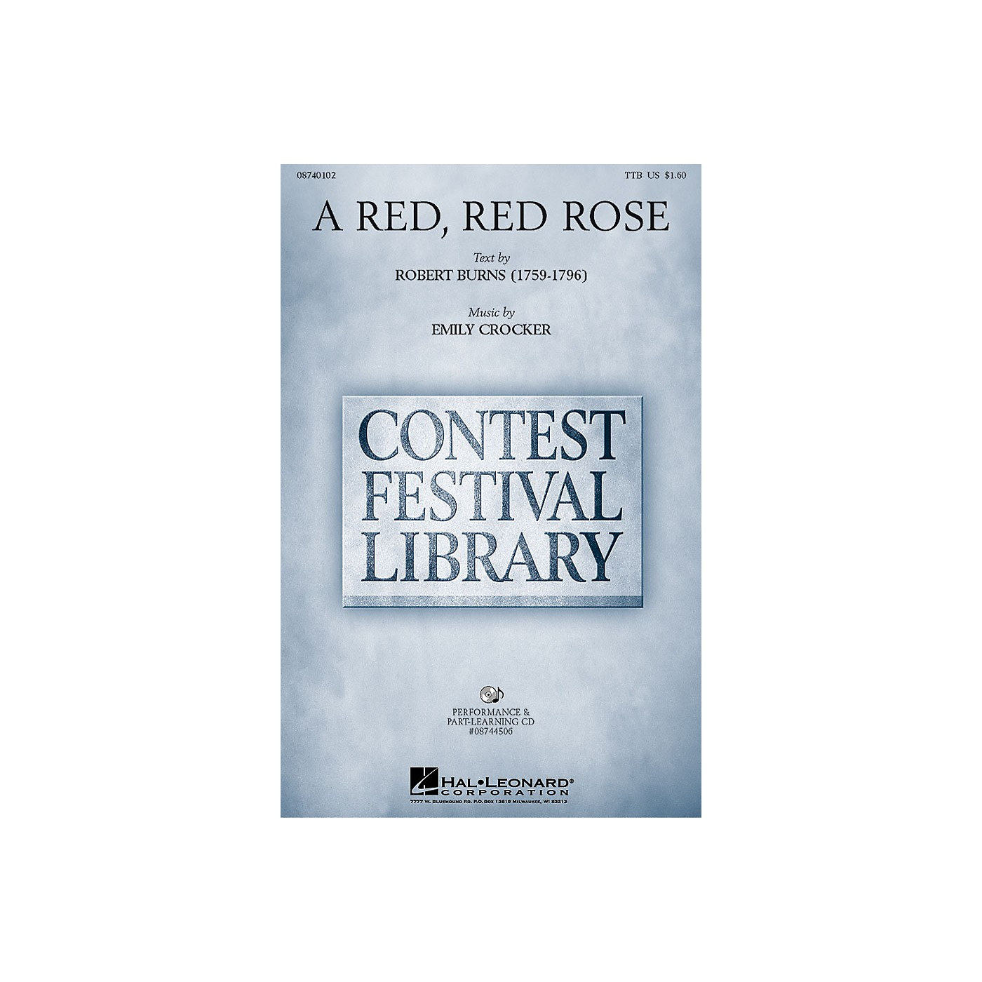 Hal Leonard A Red, Red Rose TTB composed by Emily Crocker thumbnail