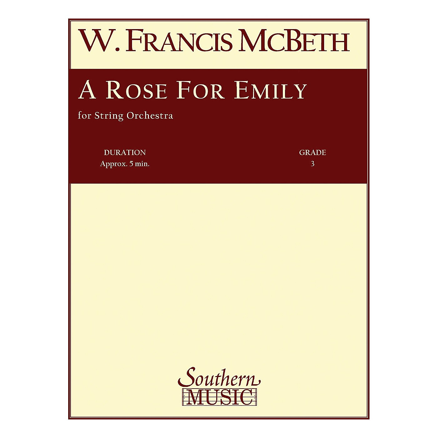Southern A Rose for Emily (String Orchestra Music/String Orchestra) Southern Music Series by W. Francis McBeth thumbnail