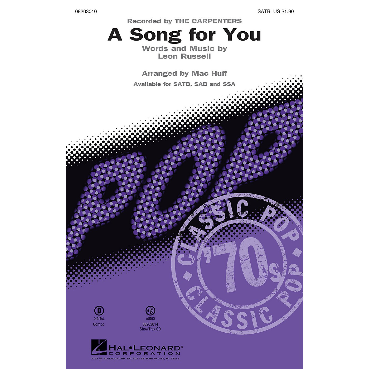 Hal Leonard A Song for You SATB by The Carpenters arranged by Mac Huff thumbnail