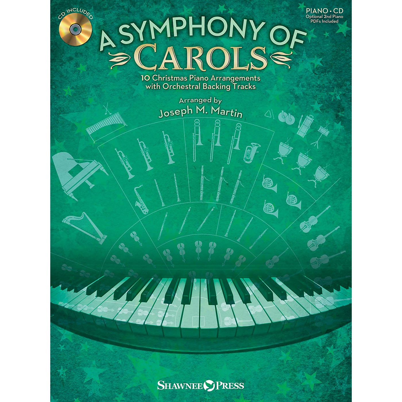 Shawnee Press A Symphony of Carols (10 Christmas Piano Arrangements with Full Orchestra Tracks) by Joseph M. Martin thumbnail