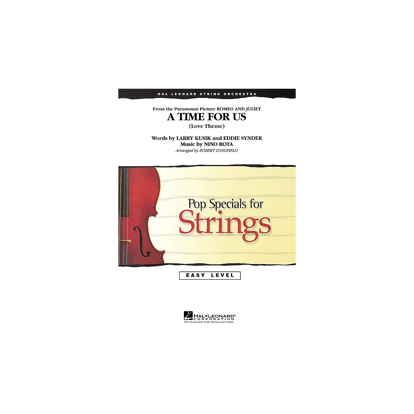 Hal Leonard A Time for Us (from Romeo and Juliet) Easy Pop Specials For Strings Series Arranged by Robert Longfield thumbnail
