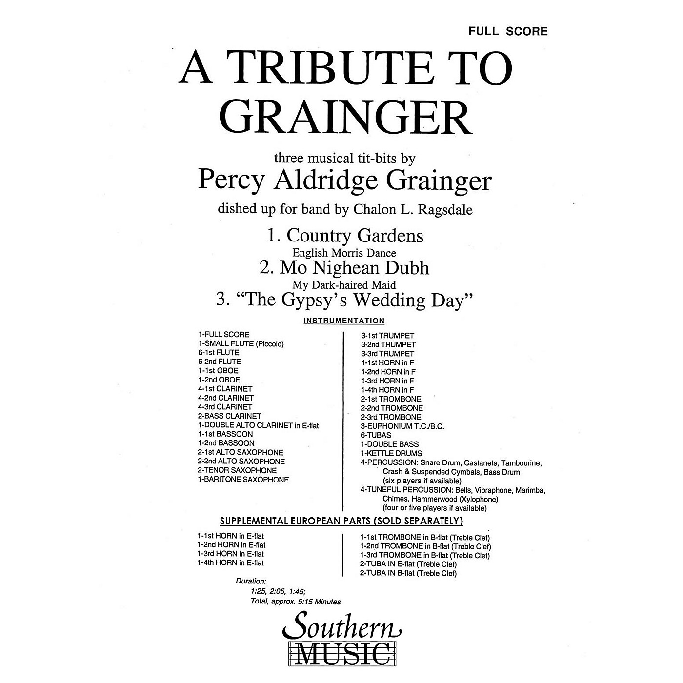 Southern A Tribute to Grainger (Band/Concert Band Music) Concert Band Level 3 Arranged by Chalon Ragsdale thumbnail
