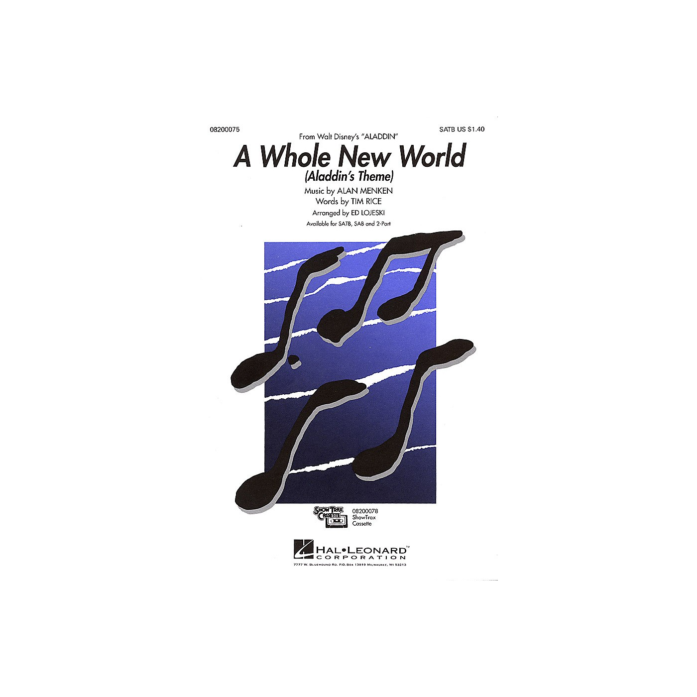 Hal Leonard A Whole New World - Aladdin's Theme (from Aladdin) SAB Arranged by Ed Lojeski thumbnail