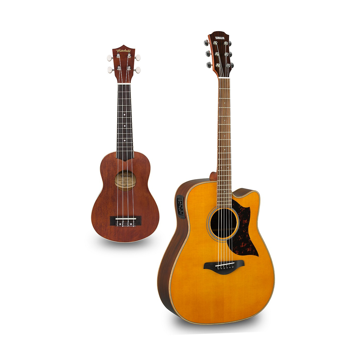 Yamaha A1R Cutaway Dreadnought Acoustic-Electric Guitar and Ukulele Package thumbnail