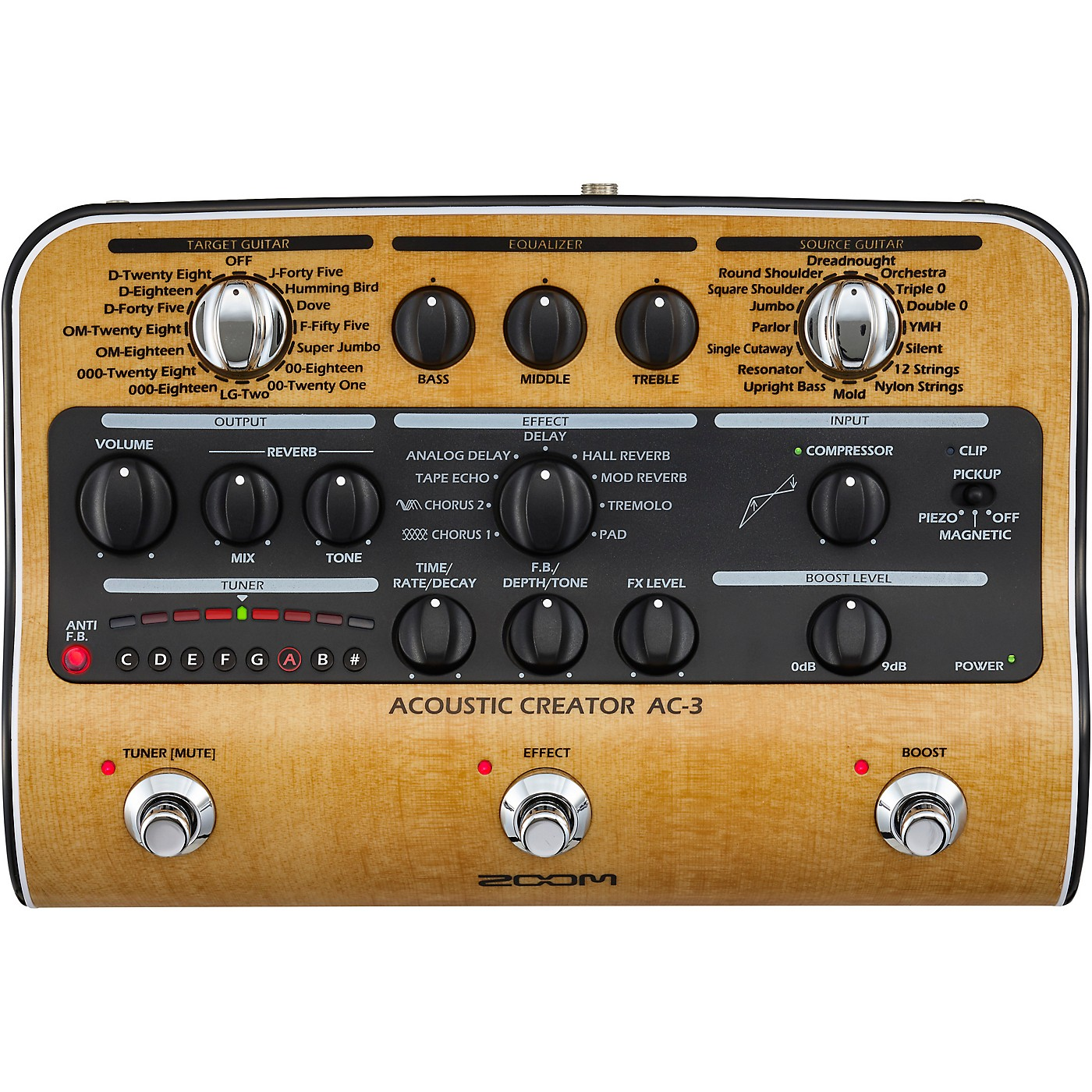 Zoom AC-3 Acoustic Creator Acoustic Multi-Effects Pedal thumbnail