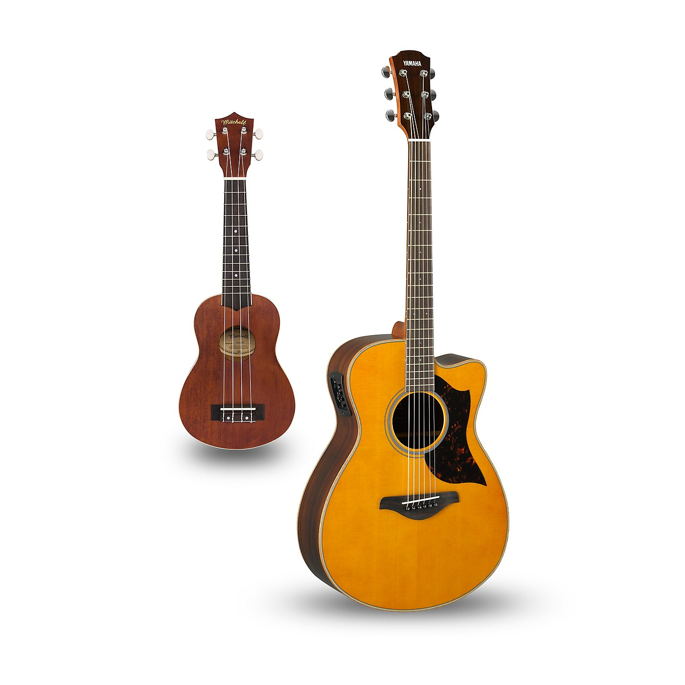 Yamaha AC1R Cutaway Concert Acoustic-Electric Guitar and Ukulele Package thumbnail