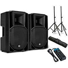 "RCF ART 712-A MK4 12"" Powered Speaker Pair with Stands and Power Strip"