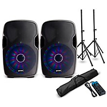 """Gemini AS-08BLU-LT 8"""" Powered Speaker with LED Lights Pair and Power Strip"""