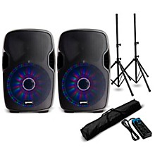 """Gemini AS-10BLU-LT 10"""" Powered Bluetooth Speaker with LED Lights and Power Strip"""