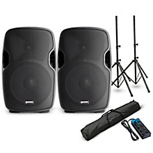 "Gemini AS-10P 10"" Powered Speaker Pair with Stands and Power Strip"