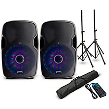 """Gemini AS-12BLU-LT 12"""" Powered Bluetooth Speaker with LED Lights Pair and Power Strip"""