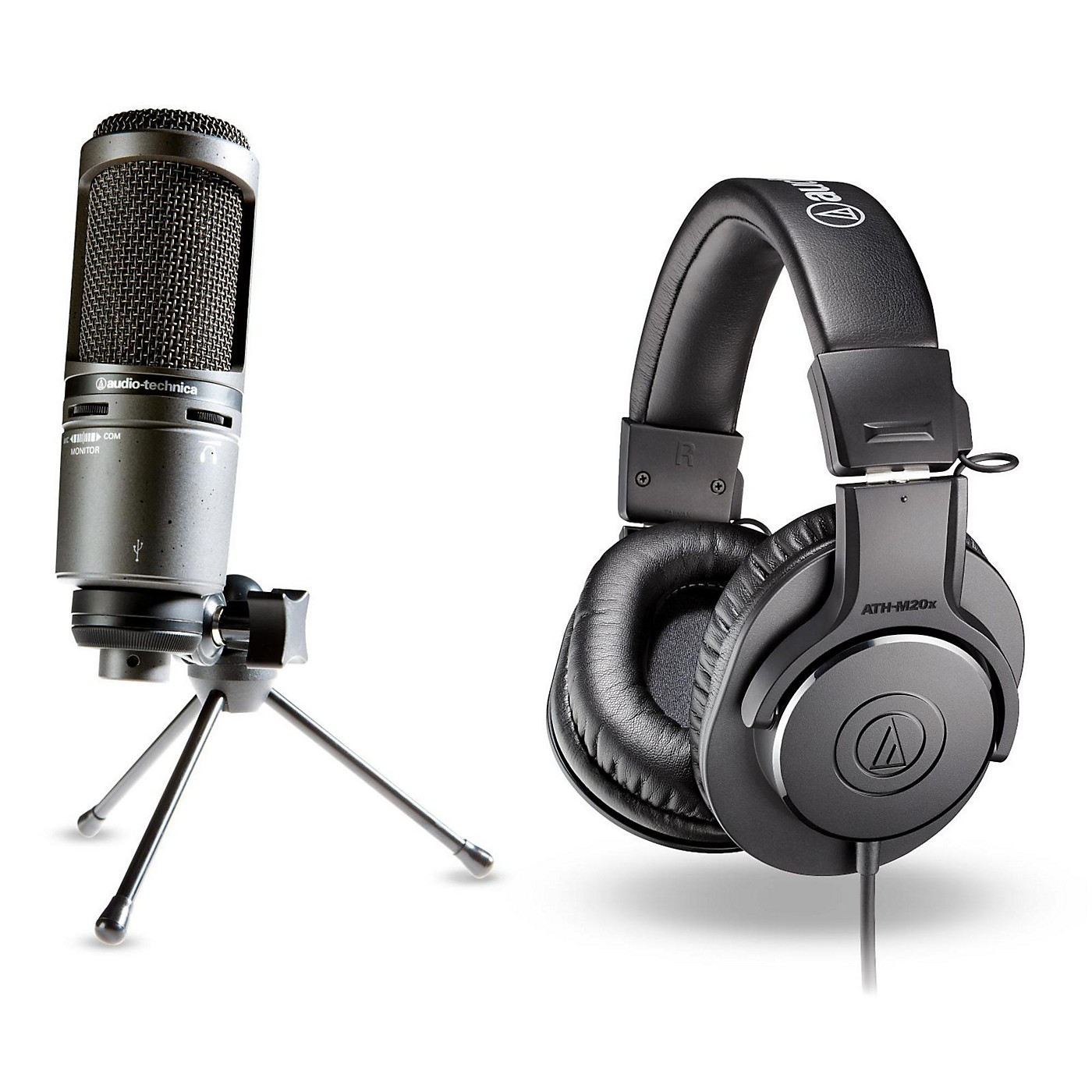 Audio-Technica AT2020 USB Mic with ATH-M20x Headphones thumbnail