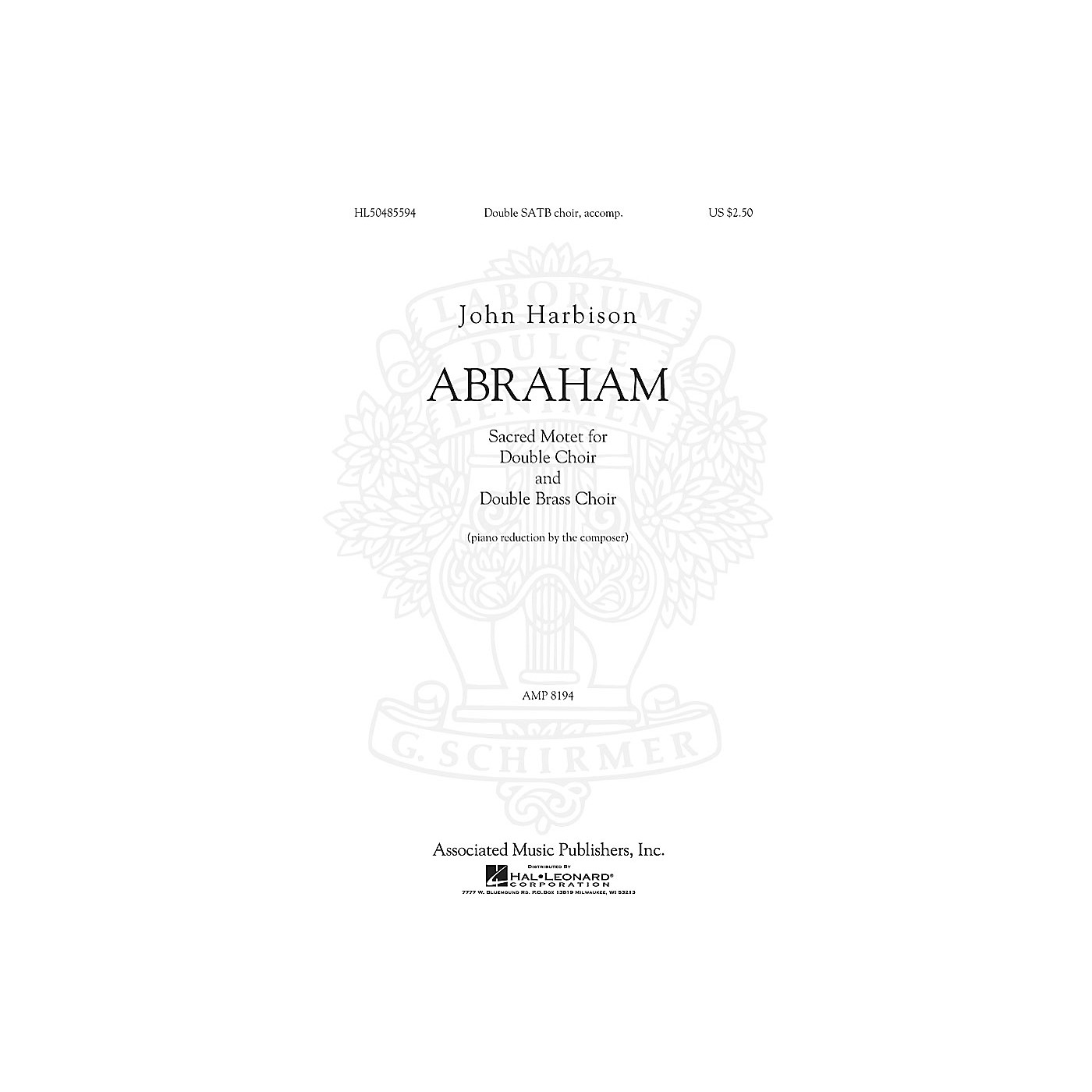 G. Schirmer Abraham SATB composed by John Harbison thumbnail