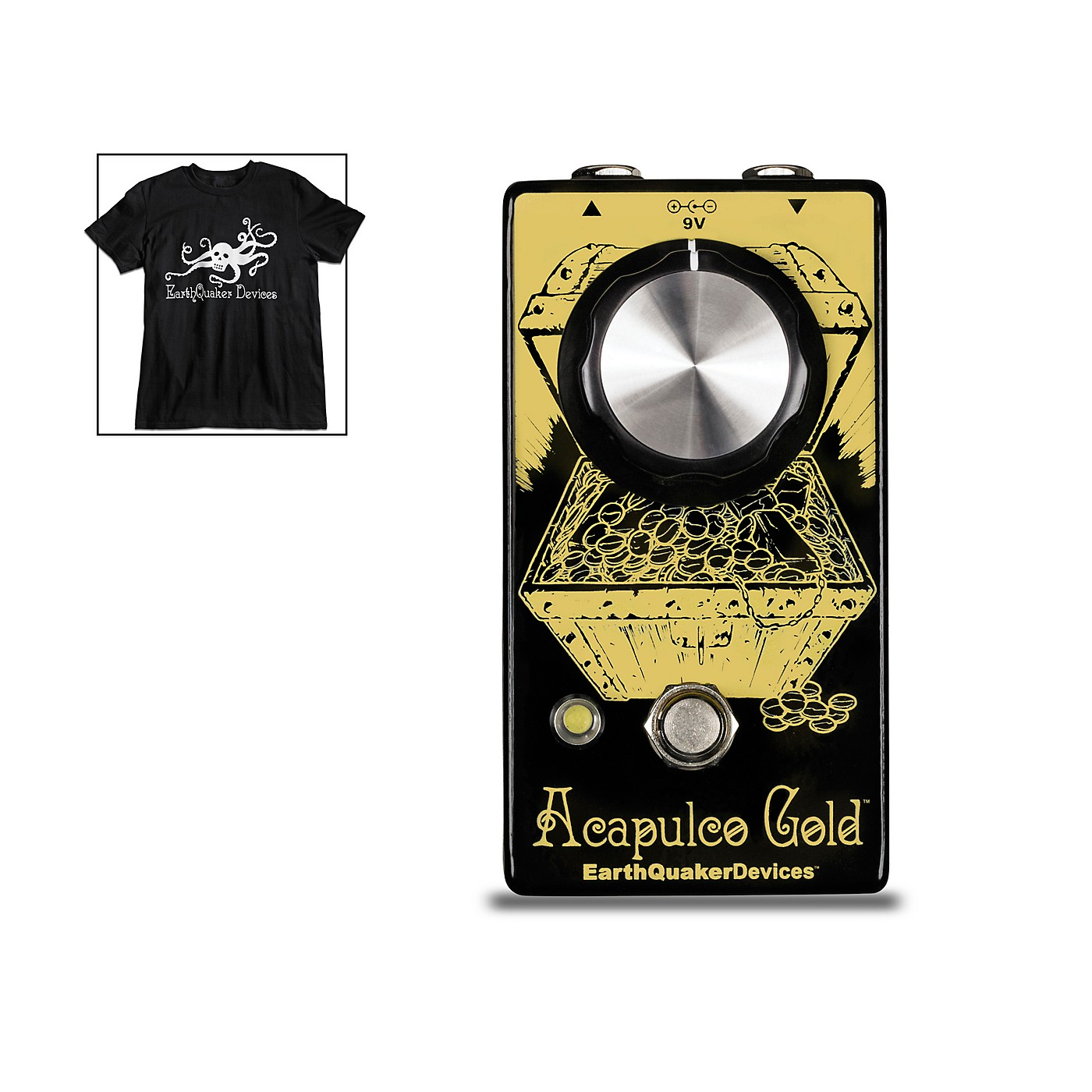 Earthquaker Devices Acapulco Gold V2 Power Amp Distortion Effects Pedal and Octoskull T-Shirt Large Black thumbnail