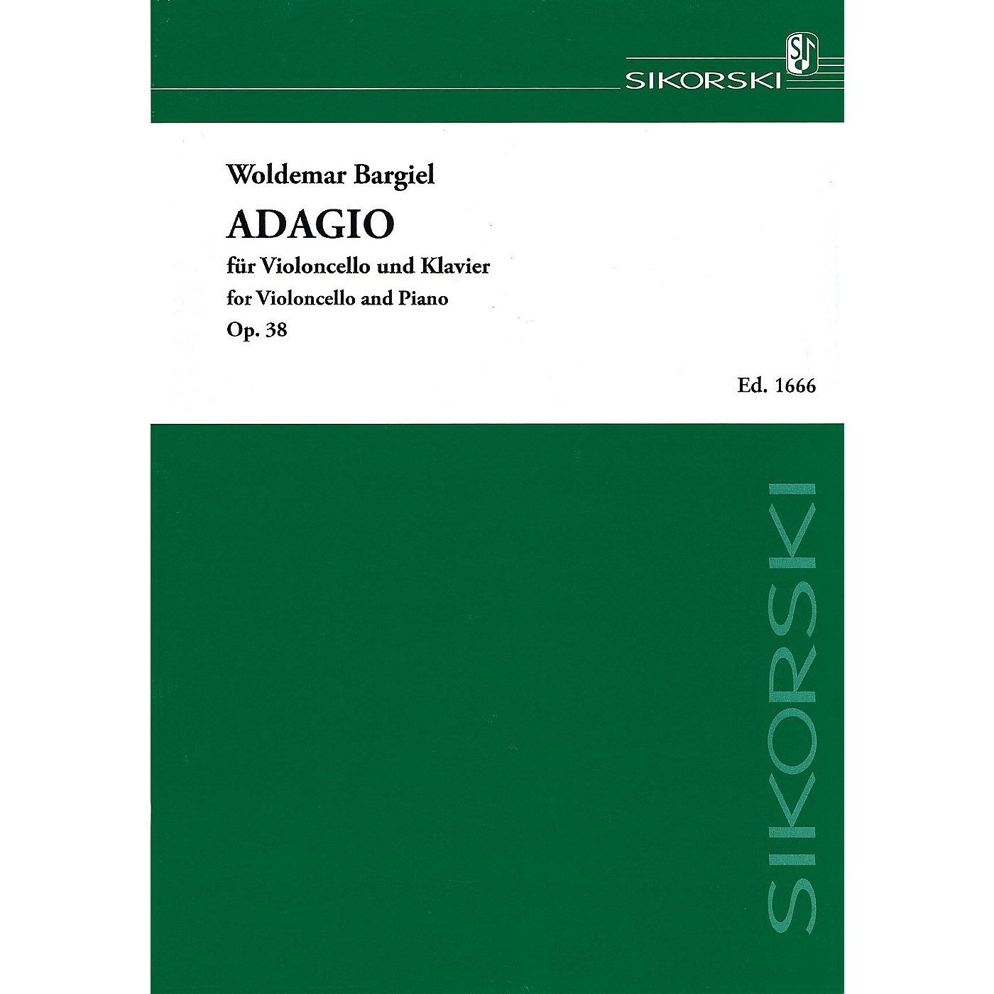 Sikorski Adagio, Op. 38 (Violoncello and Piano) String Series Softcover Composed by Woldemar Bargiel thumbnail