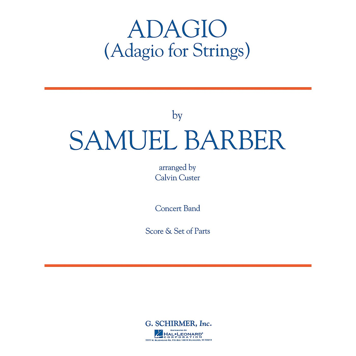 G. Schirmer Adagio Sc Concert Band Composed by S Barber thumbnail