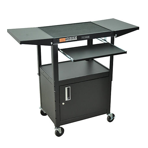 H. Wilson Adjustable Height Cart with Keyboard Tray, Locking Cabinet and Drop Leaf Shelves thumbnail