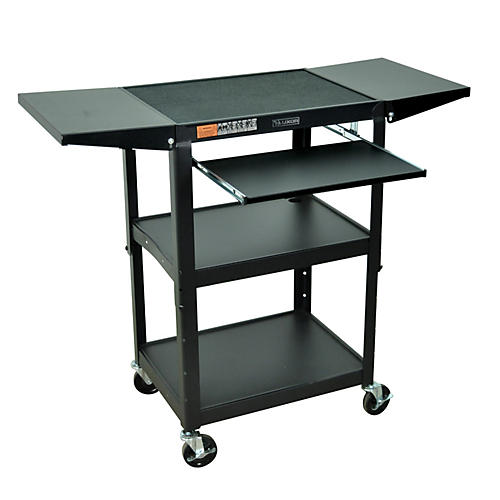 H. Wilson Adjustable Height Cart with Keyboard Tray and Drop Leaf Shelves thumbnail