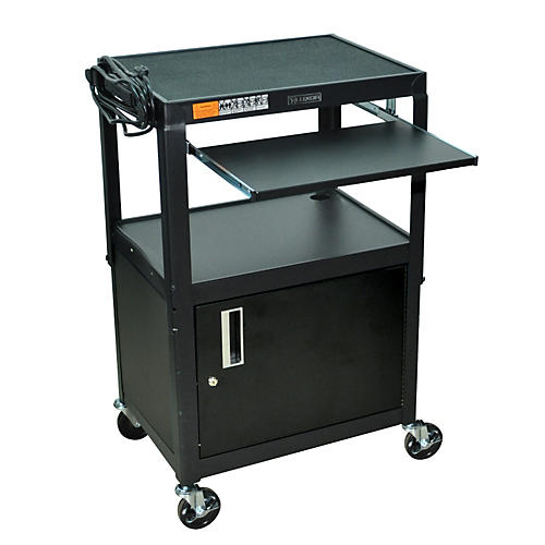 H. Wilson Adjustable Height  Cart with Keyboard Tray and Locking Cabinet thumbnail