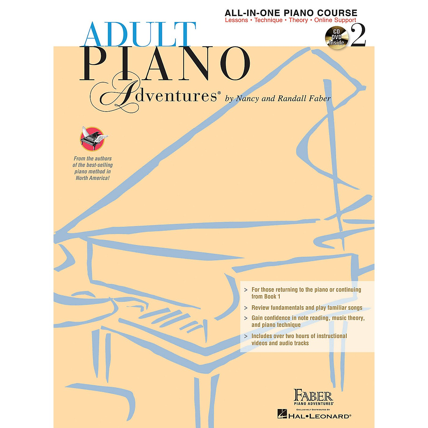 Faber Piano Adventures Adult Piano Adventures All-in-One Lesson Book 2 - Book with CD, DVD and Online Support thumbnail