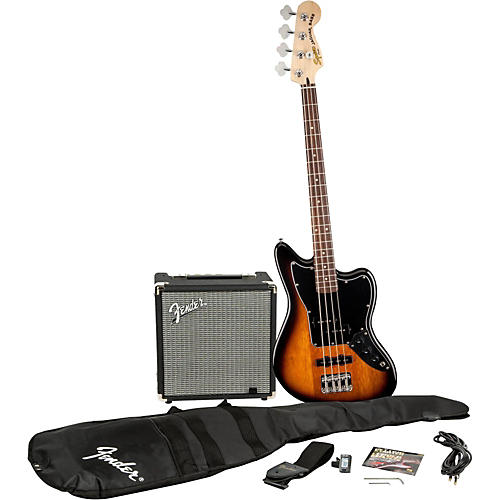 Squier Affinity Series Jaguar Bass SS Pack with Fender Rumble 15W Bass Combo Amp thumbnail