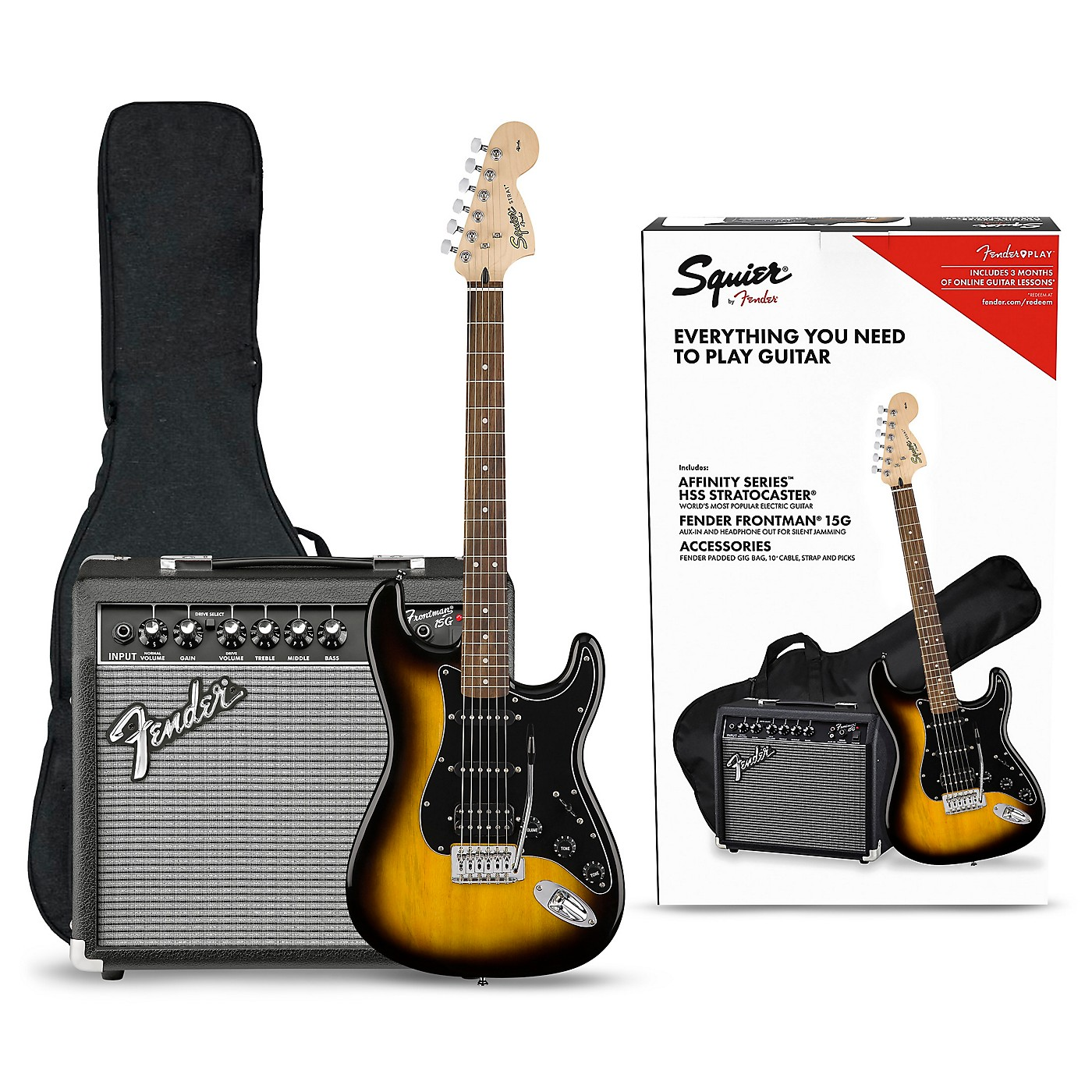 Squier Affinity Series Stratocaster HSS Electric Guitar Pack with Fender Frontman 15G Amp thumbnail