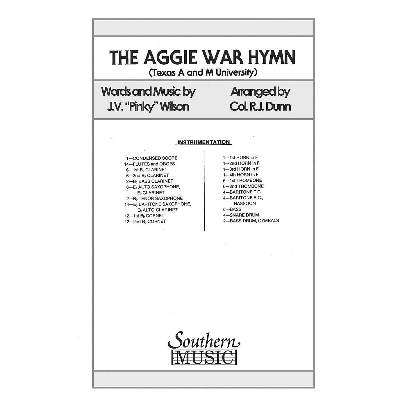 Southern Aggie War Hymn (Marching Band/Marching Band Music) Marching Band Level 2 Composed by WILSON thumbnail