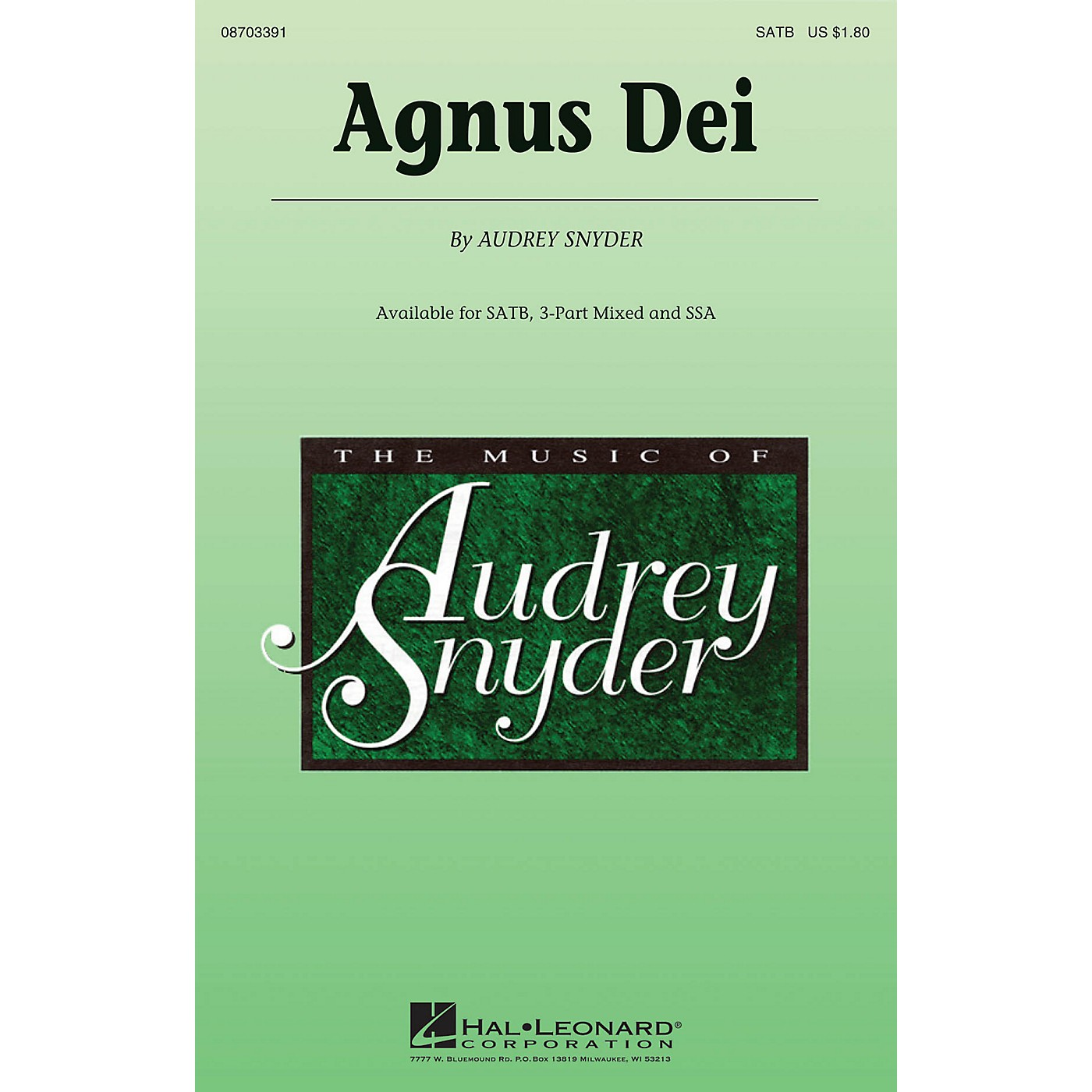 Hal Leonard Agnus Dei SATB composed by Audrey Snyder thumbnail